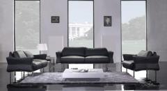 Canapés Design - Ensemble Canapé 3+2+1 Salon en Cuir Mrs White - Noir