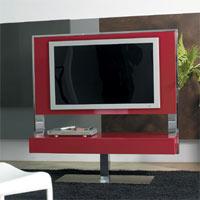 Meuble TV laqué rouge mat Tecno 140