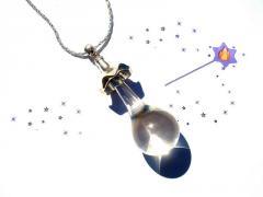 Collier goutte de verre filé au chalumeau transparent chaine argenté bijoux fait main artisanal - D de la création : 553431