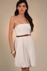 Robe bustier à forme boule - blanc - vêtement