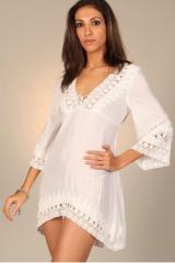 Tunique asymétrique - blanc- vêtement femme