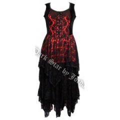 Robe ceintrée en velour et dentelle noir et rouge