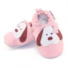 Chaussons bébé fille › Chaussons bébé cuir souple chiens rose