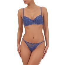 Soutien-gorge Sandan's:  l'ensemble de lingerie bleu brodé (80B)