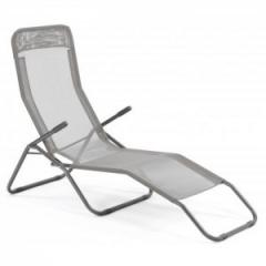 Chaise longue textilène design taupe Beverly