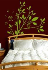 Sticker mural  branche avec oiseaux chanteurs