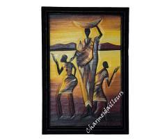 Tableau africain Femme avec panier et enfants