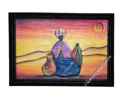 Tableau africain Hommes dans le desert