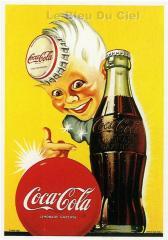 Affiche publicitaire cartonnée  Garçon Coca Cola.