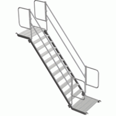 Escalier aluminium complet avec 2 rampes