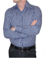Chemise homme Ben cintrée carreaux Chelsea opposition bleu