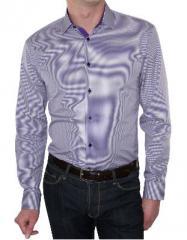 Chemise homme Dan cintrée carreaux vichy violet Burnley