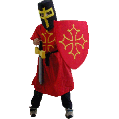 Déguisement de chevalier cathare avec armes en mousse