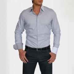 Chemise Coupe Ajustee Gris Perle