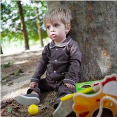 Pyjama bébé garçon personnalisé coton bio gris chine