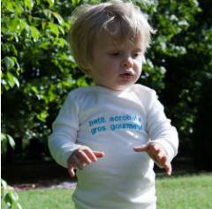 T-shirt personnalisé bébé en coton bio blanc fabriqué en France
