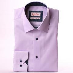 Chemise mauve, col et poignets à motifs blancs sur