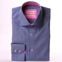 Chemise bleu foncé à rayures blanches, col et
