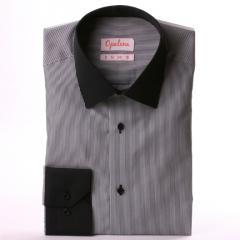 Chemise à fines rayures noires et blanches, col et poignets noirs