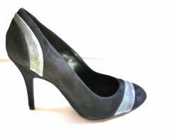 Escarpin cuir noir gris chaussure femme