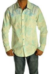 Chemise homme manches longues, double imprimé, vêtement top tendance 93133 {2400 - E4/2}
