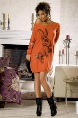 Robes (42)XL -- Robe pull taille:42 couleur:Rouille - ref: V5742-42