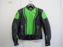 Blouson moto cuir Segura noir/vert Kawa