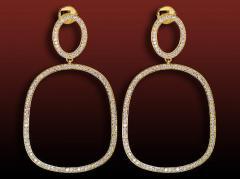 Boucles d'oreilles pavées diamant Sarina motif coussin pavées de diamants ronds en or jaune
