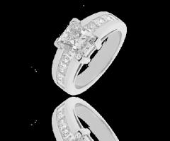 Bague diamant solitaire pavée Méyra,Diamant radian 2,00 carats et pavage de 1,48 carats