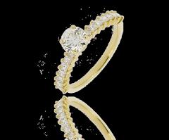 Bague diamant solitaire pavée diamants Adîte, diamants ronds 0,75 carat et pavage de 0,58 carat