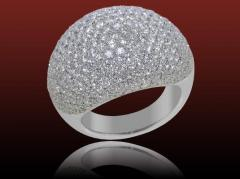 Bague pavée diamants Uni, diamants ronds 4.96 carats