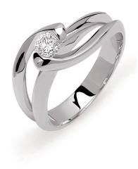 Bague Nova Solitaire moderne or gris palladié 750 millièmes diamant G-H/SI 0.30ct