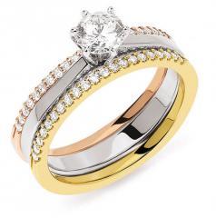 Bague Solo Accompagné Solitaire diamant 6 griffes or gris palladié 750 millièmes accompagné de 2 demi alliances diamants