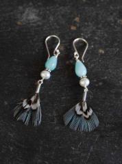 """Boucles d'oreilles """"Plume"""" faisan perle de culture, couleur menthe"""
