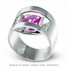 Bague or blanc, saphir rose, diamants