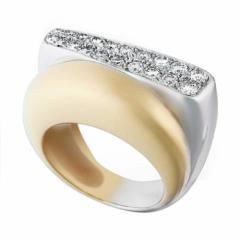 Bague Success moyen modèle en or jaune et en or gris pavée de diamants