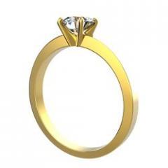 Bague solitaire 4 griffes Sabita en or jaune pour diamant rond
