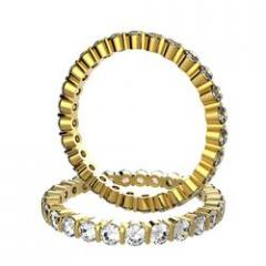Alliance Alissa en or jaune sertie barrettes de 1,32 carat diamant DEF IF-VVS