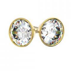 Boucles d'oreilles serti clos en or jaune pour diamant rond