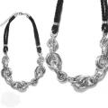 Collier fantaisie argent et noir New design [MR96424]