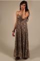 Robe longue imprimée - marron - vêtement femme