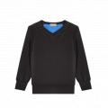 """Pull """"Vestiaire"""" laine mérinos bleu et noir"""
