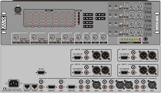 Commande Console Matrice audio 8x4 avec paging