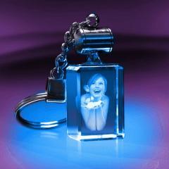 Porte-clés rectangle lumineux - Gravure photo