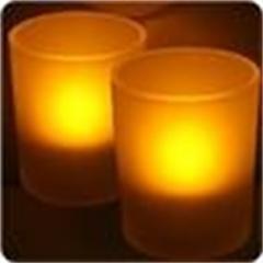 Bougie ambre sur photophore en verre
